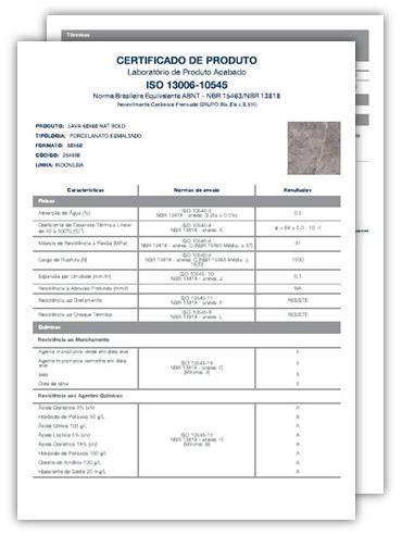 Especificação Certificado do Produto